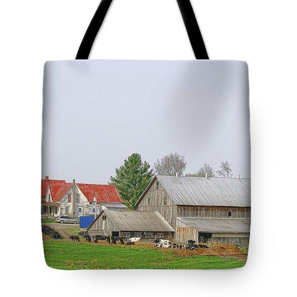 Rural Vermont Farm Scene Tote Bag by Deborah Benoit