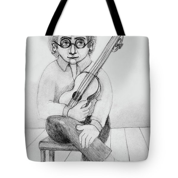 Russian Guitarist Black And White Art Eyeglasses Long Curly Hair Tie Chin Shirt Trousers Shoes Chair Tote Bag by Rachel Hershkovitz