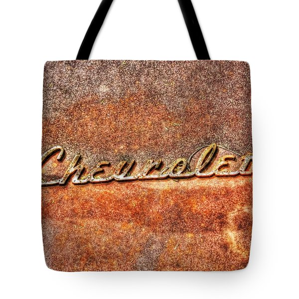 Rusted Antique Chevrolet Logo Tote Bag by Dan Stone