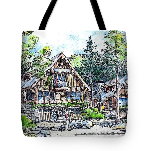 Tote Bag featuring the drawing Rustic Cabins by Andrew Drozdowicz