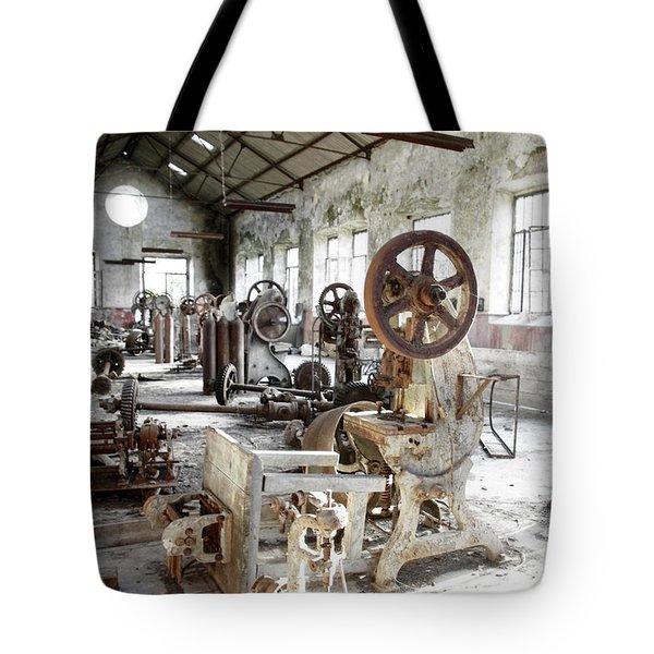 Rusty Machinery Tote Bag by Carlos Caetano
