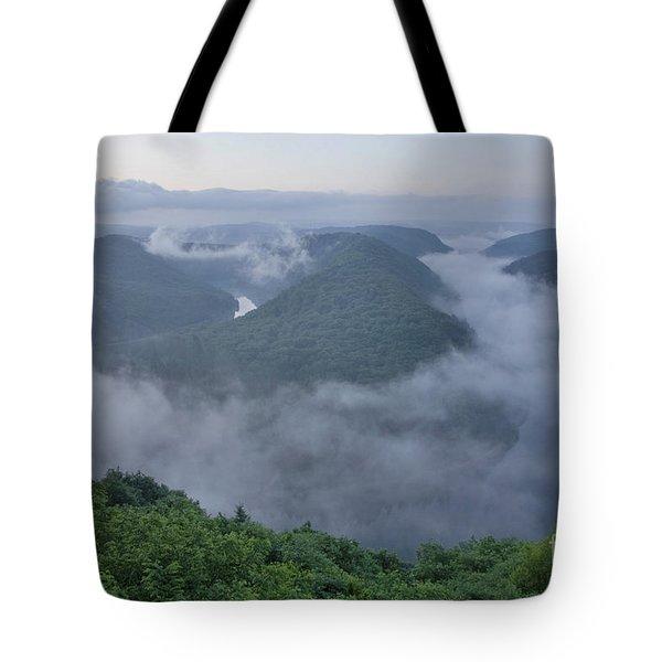 Saar Loop In The Morning Fog Tote Bag by Heiko Koehrer-Wagner