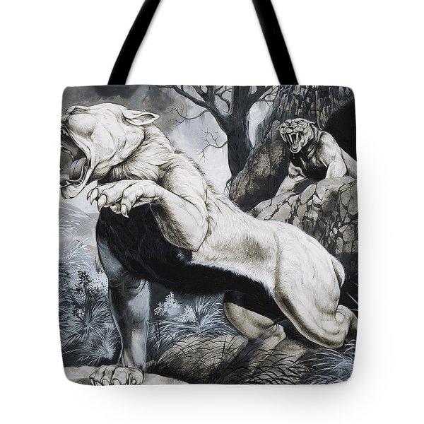 Sabre-toothed Tigers Tote Bag by Richard Hook