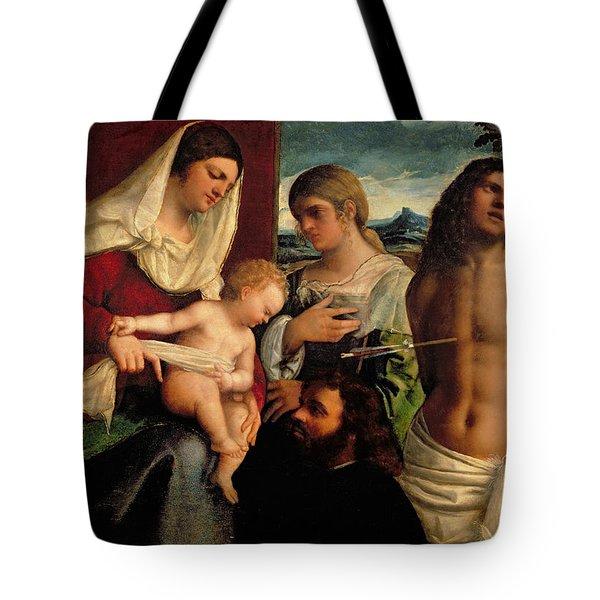 Sacra Conversatione With Ss Catherine Sebastian And Holy Family Tote Bag by Sebastiano de Piombo