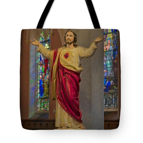 Sacred Heart Of Jesus Tote Bag by Susan Candelario