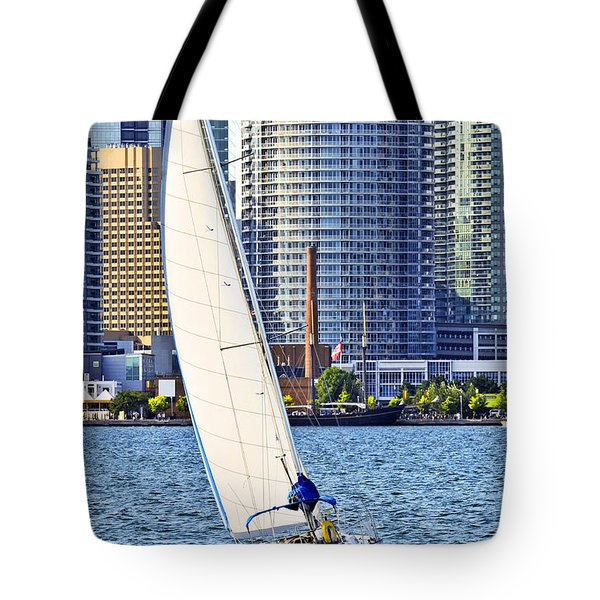 Sailboat In Toronto Harbor Tote Bag by Elena Elisseeva