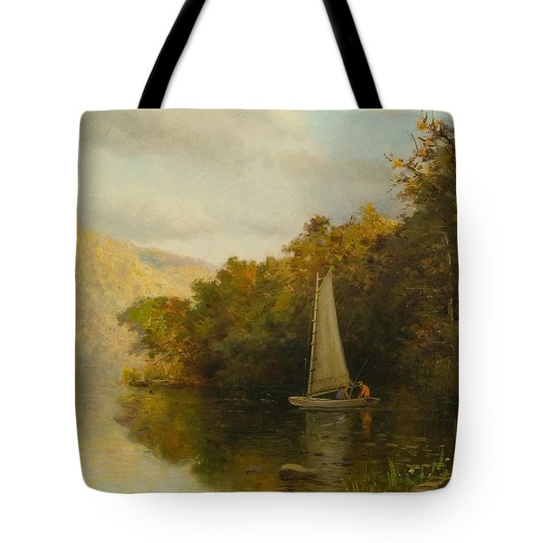 Sailboat On River Tote Bag by Arthur Quarterly