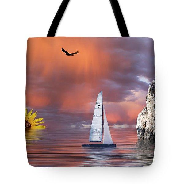Sailing At Sunset Tote Bag