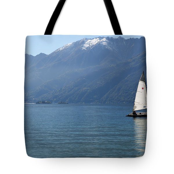 Sailing Boat And Mountain Tote Bag by Mats Silvan
