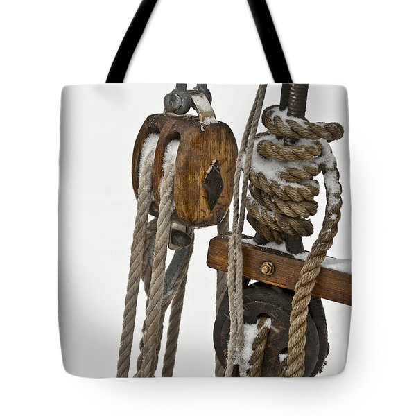 Sailing Boat Detail With Snow Tote Bag by Heiko Koehrer-Wagner