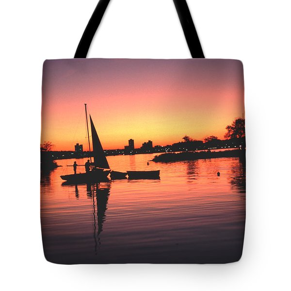 Sailing End Of The Day Backbay  Boston Tote Bag