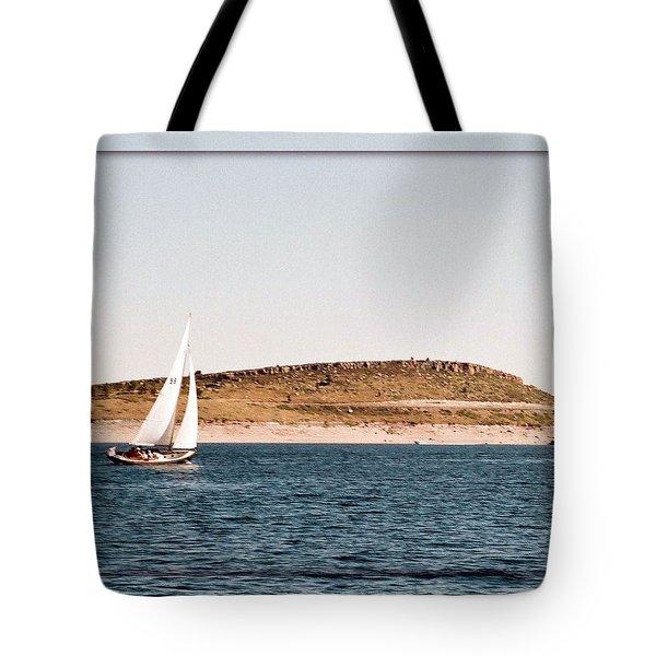 Tote Bag featuring the photograph Sailing On Carter Lake by David Pantuso