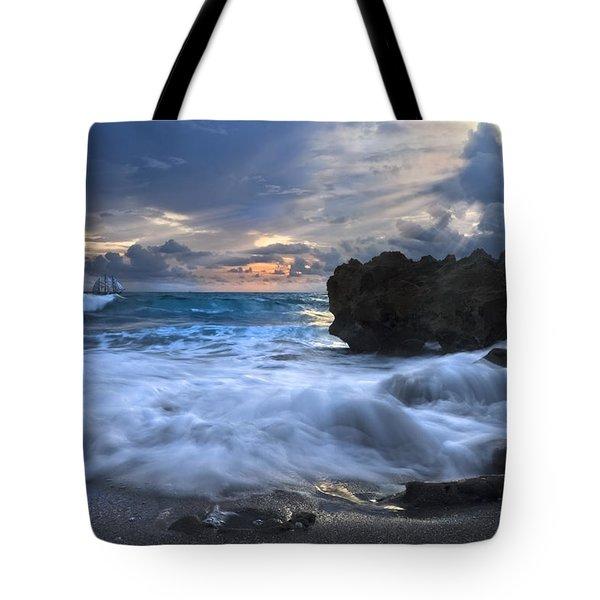 Sailing On The Silk Blue Sea Tote Bag by Debra and Dave Vanderlaan