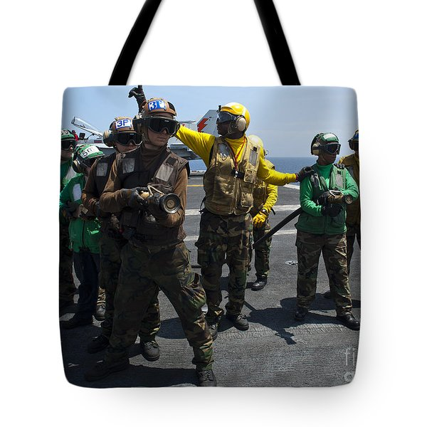 Sailors Fight A Simulated Fire Drill Tote Bag by Stocktrek Images