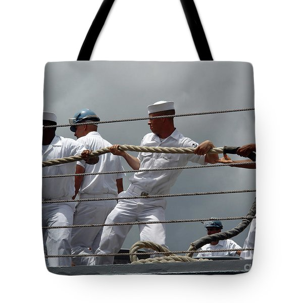 Sailors Heave Around On A Mooring Line Tote Bag