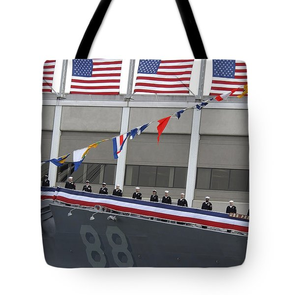 Sailors Man The Rails On The Guided Tote Bag