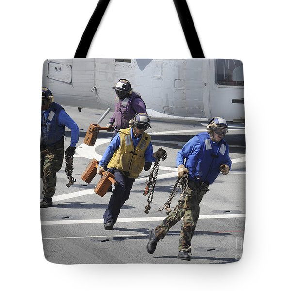 Sailors Remove The Chocks And Chains Tote Bag
