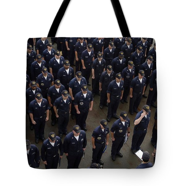 Sailors Stand At Attention During An Tote Bag by Stocktrek Images
