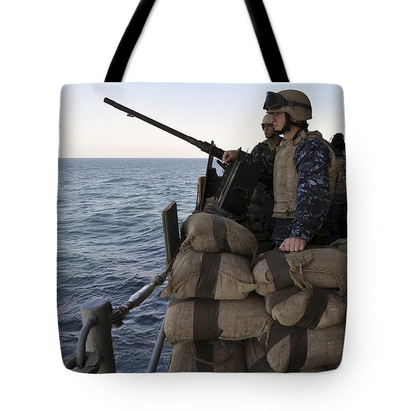 Sailors Stand Small Caliber Attack Team Tote Bag by Stocktrek Images