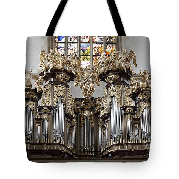 Saint Barbara Church - Organ Loft And Stained Glass In The Churc Tote Bag by Michal Boubin