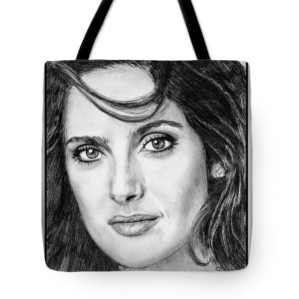 Tote Bag featuring the drawing Salma Hayek In 2005 by J McCombie