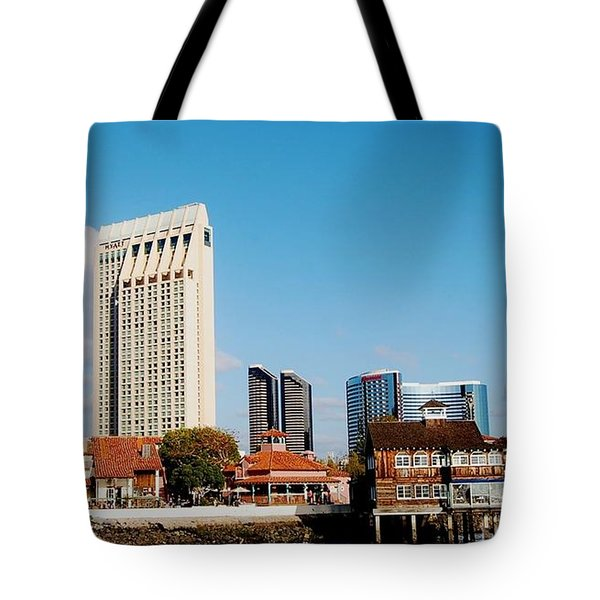 Tote Bag featuring the photograph San Diego - Seaport Village by Jasna Gopic