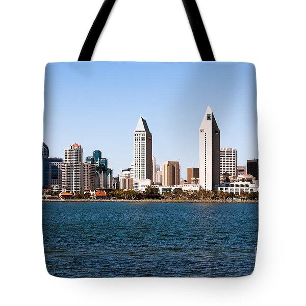 San Diego City Skyline Tote Bag by Paul Velgos
