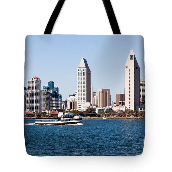 San Diego Skyline And Tour Boat Tote Bag by Paul Velgos