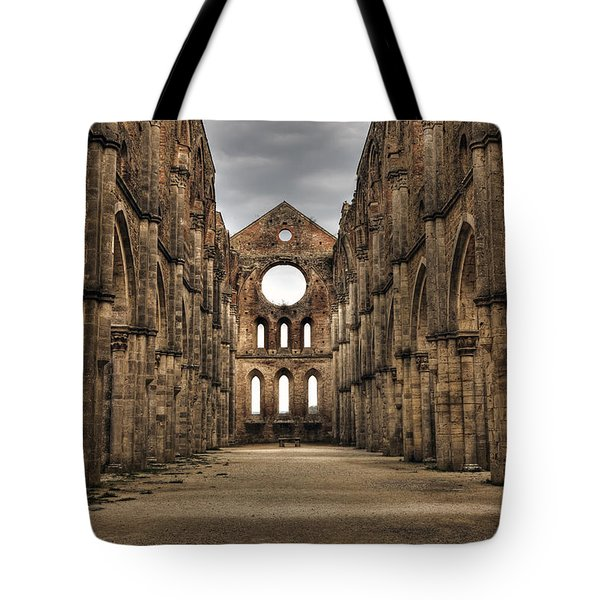 San Galgano  - A Ruin Of An Old Monastery With No Roof Tote Bag by Joana Kruse