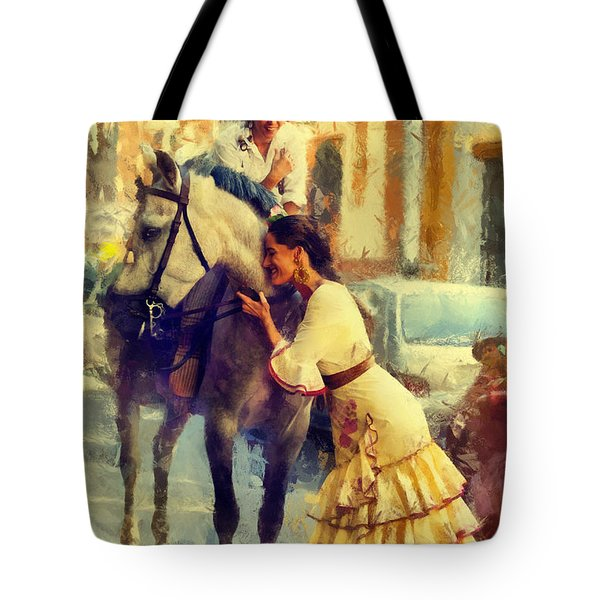 San Miguel Fair In Torremolinos Tote Bag by Jenny Rainbow