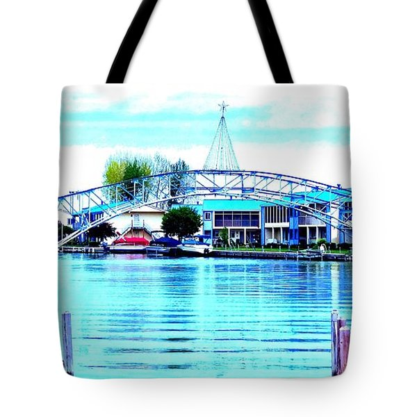 Sandy Beach Bridge Tote Bag