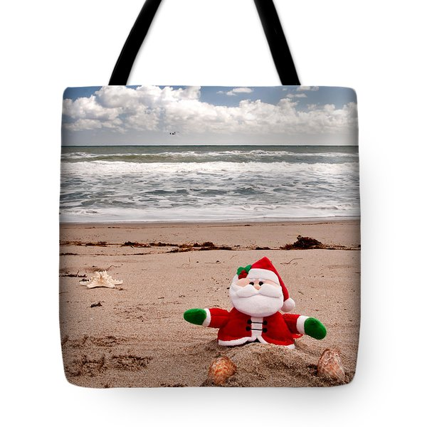 Santa At The Beach Tote Bag