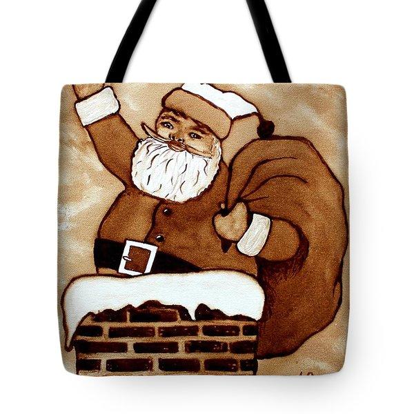 Santa Claus Gifts Original Coffee Painting Tote Bag by Georgeta  Blanaru