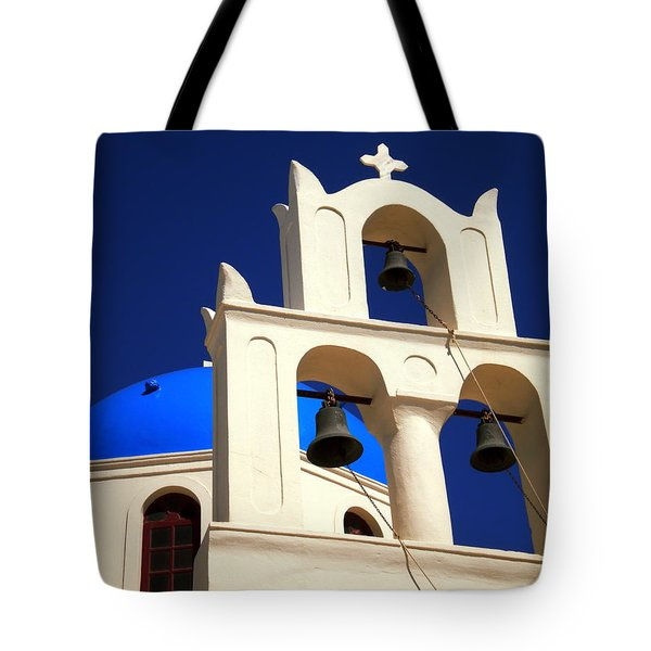Tote Bag featuring the photograph santorini Church Greee by Colette V Hera  Guggenheim