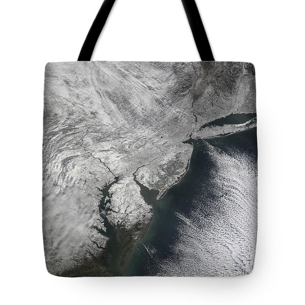Satellite View Of A Noreaster Snow Tote Bag by Stocktrek Images