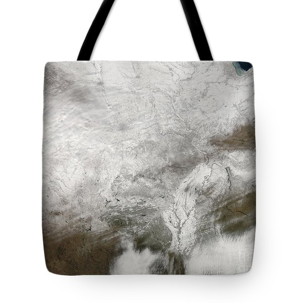 Satellite View Of A Severe Winter Storm Tote Bag by Stocktrek Images