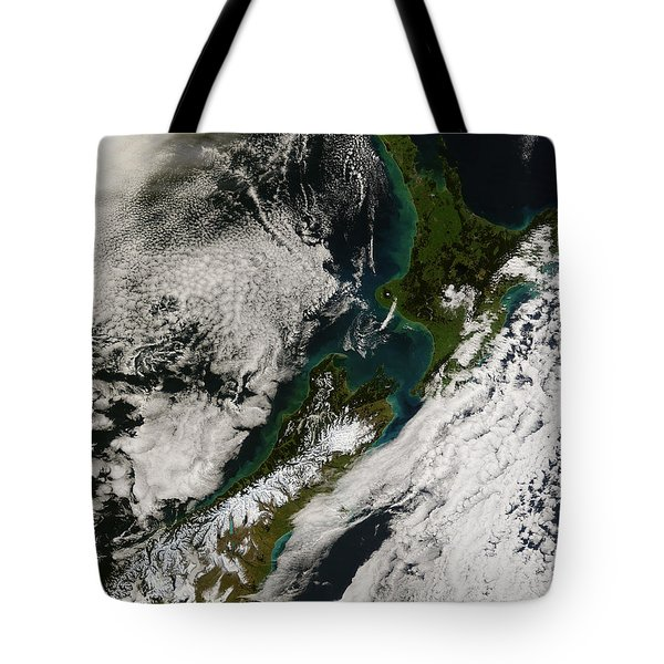 Satellite View Of New Zealand Tote Bag by Stocktrek Images