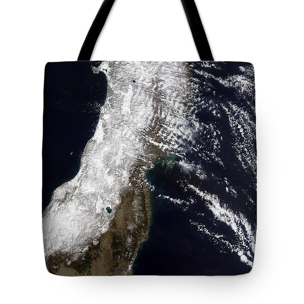 Satellite View Of Northeast Japan Tote Bag by Stocktrek Images