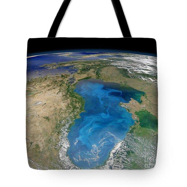 Satellite View Of Swirling Blue Tote Bag by Stocktrek Images