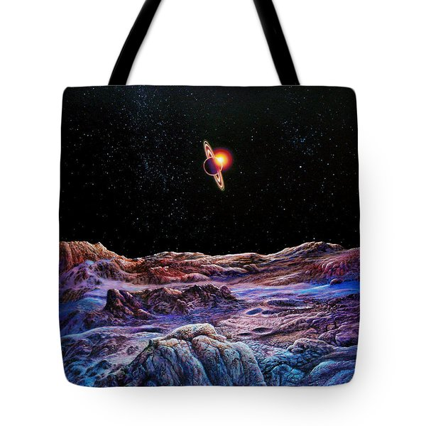 Saturn From Iapetus Tote Bag by Don Dixon