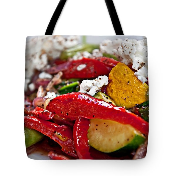 Tote Bag featuring the photograph Sauteed Vegetables With Feta Cheese Art Prints by Valerie Garner