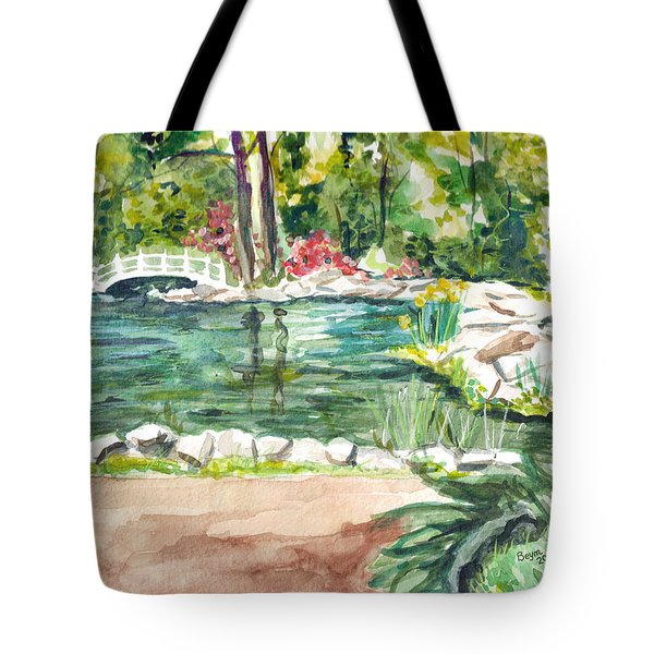 Tote Bag featuring the painting Sayen Pond by Clara Sue Beym