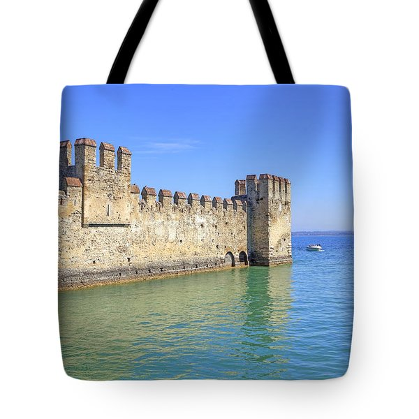 Scaliger Castle Wall Of Sirmione In Lake Garda Tote Bag by Joana Kruse