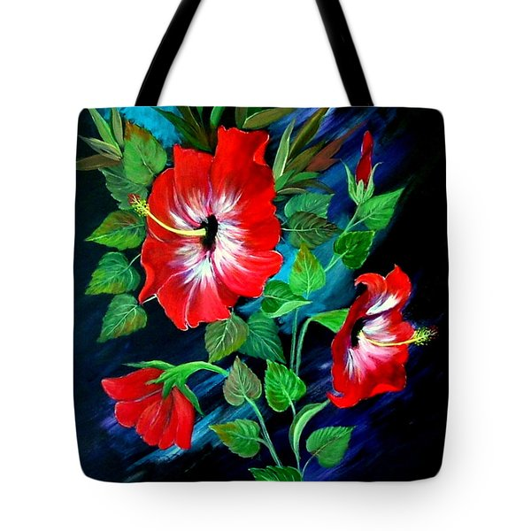 Tote Bag featuring the painting Scarlet Hibiscus by Fram Cama