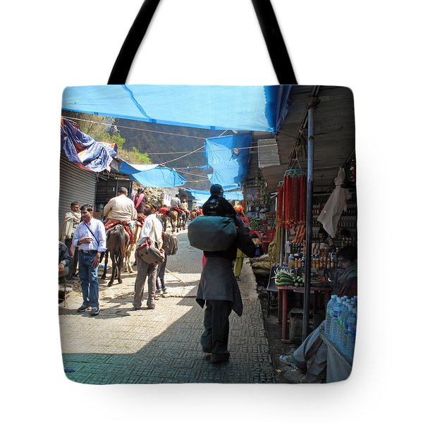 Scene At The Climbing Path Leading To The Vaishno Devi Shrine In Jammu And Kashmir State In India Tote Bag by Ashish Agarwal