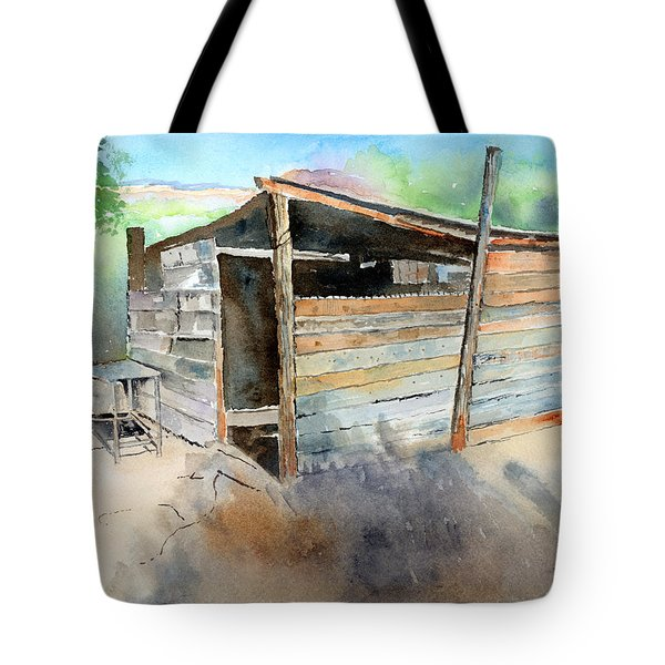 Tote Bag featuring the painting School Cooking Shack - South Africa by Arline Wagner