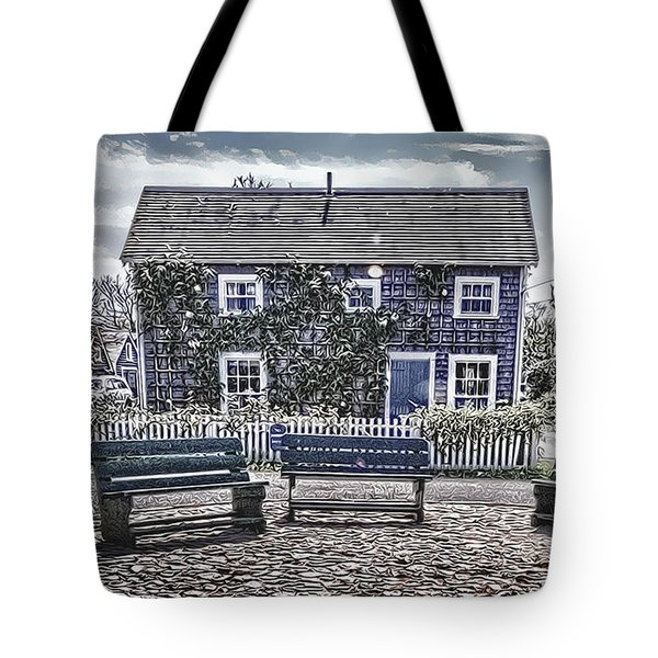 Tote Bag featuring the photograph 'sconset Nantucket - Cartoon by Jack Torcello