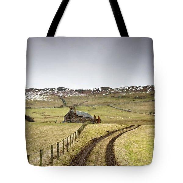 Scottish Borders, Scotland Tire Tracks Tote Bag by John Short