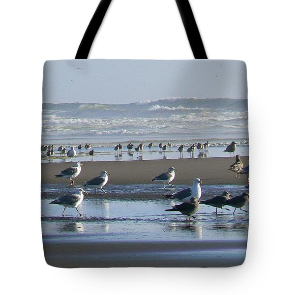 Sea Gulls And Breakers Tote Bag