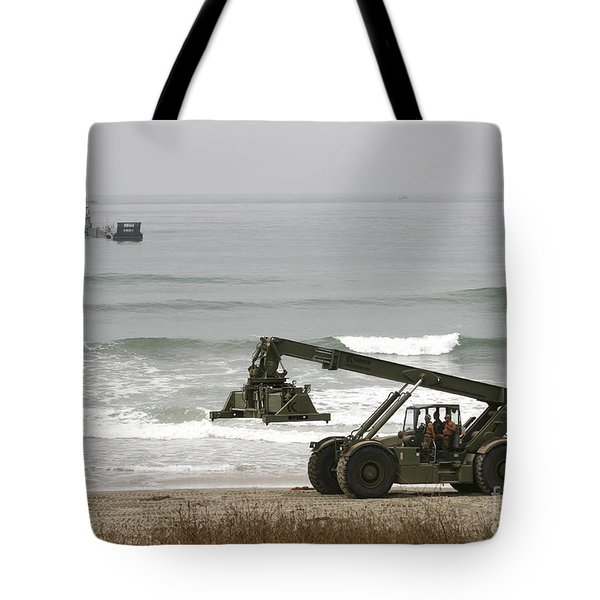 Seabee Loader And Powered Causeway Tote Bag by Michael Wood